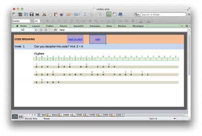 Screenshot of Code Breaking Excel Worksheet