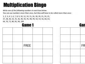 Screenshot of Mutliplication Bingo