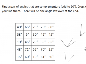 Screenshot of Complementary Angles Grid