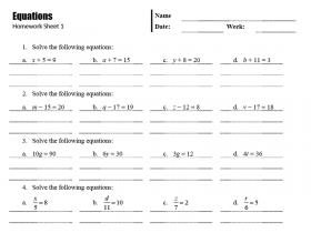 Screenshot of Equations Homework Sheets