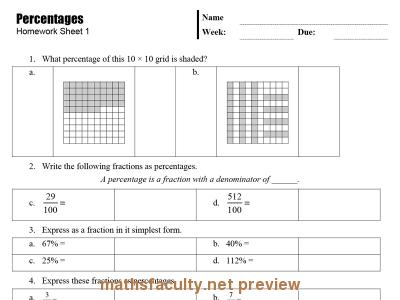 Screenshot of Percentages Homework Sheets
