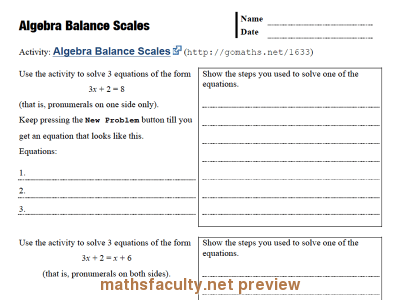 Screenshot of Algebra Balance Scales - record sheet