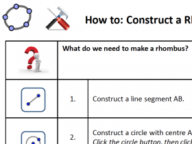 Screenshot of GeoGebra HowTo: Construct a Rhombus