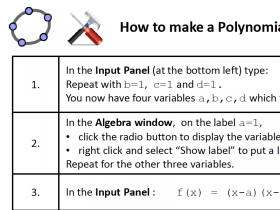 Screenshot of GeoGebra HowTo: Build a Polynomial Factor Exploration Tool