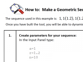 Screenshot of Geogebra HowTo: Build a Geometric Sequence explorer