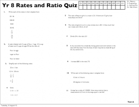 Screenshot of Yr 8 Rates and Ratio Quizzes (A, B, C, D)