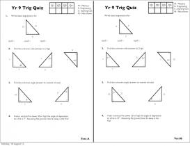Screenshot of Year 9 Trigonometry Quizzes (A, B, C, D)
