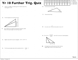 Screenshot of Year 10 Further Trigonometry Quizzes (A, B, C, D)