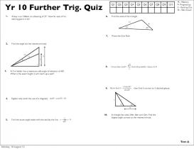 Screenshot of Year 10 Further Trigonometry Quizzes (A, B, C, D)