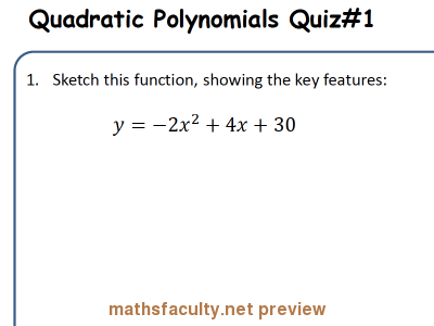 Screenshot of AB Quizzes : Quadratic Polynomial - Basics