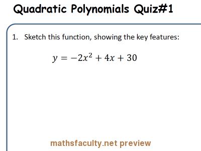 Screenshot of AB Quizzes : Quadratic Polynomial - Basics