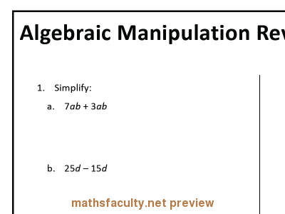 Screenshot of Algebraic Manipulation Review ABQuizzes