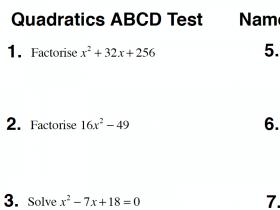 Screenshot of Quadratics ABCD Test