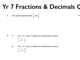 Screenshot of Yr 7 Fractions & Decimals ABQuiz