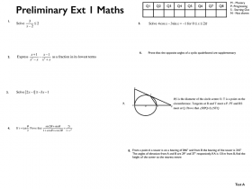 Screenshot of Preliminary Extension 1 ABQuiz