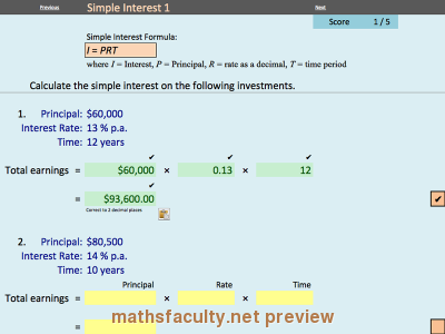 Screenshot of Consumer Arithmetic - Interest - Electronic Worksheets