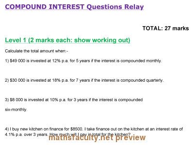 Screenshot of Compound Interest Relay Questions