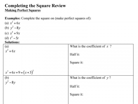 Screenshot of Completing the Square with side bar for steps