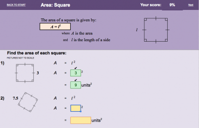Screenshot of Area - electronic worksheet
