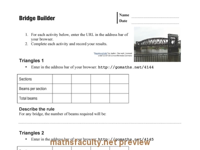 Screenshot of Bridge Builder - Worksheet