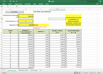 Screenshot of Loan Repayment Tables