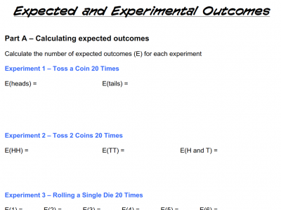 Screenshot of Expected and Experimental Outcomes