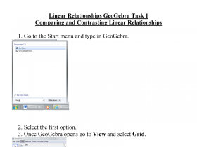 Screenshot of GeoGebra tasks - Linear and non-linear relationships