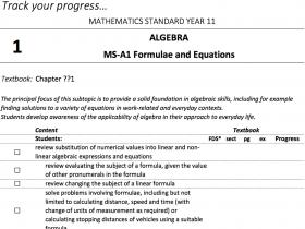 Screenshot of Mathematics Standard - Student Outlines