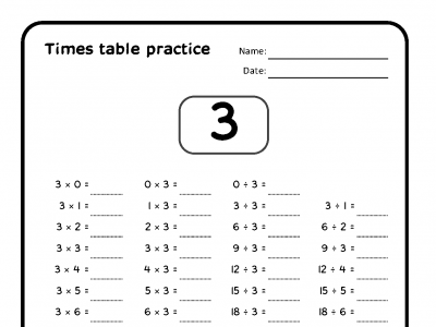 Preview of Times table practice pages