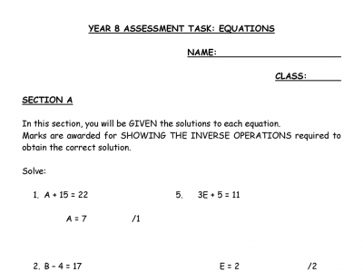 Preview of Equations Assignment Year 8