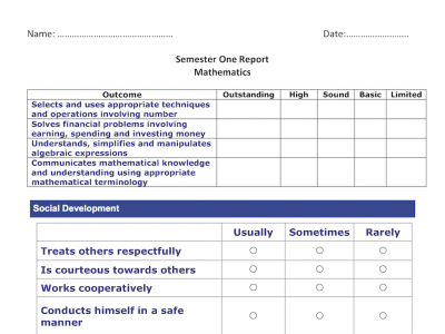 Preview of Student Report Reflection