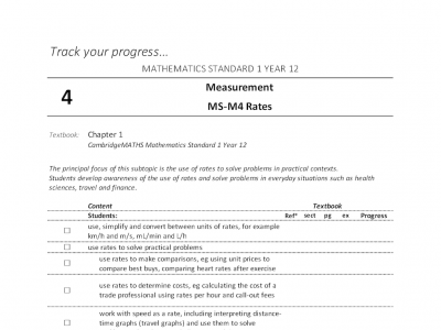 Screenshot of Mathematics Standard 1 - Student Outlines