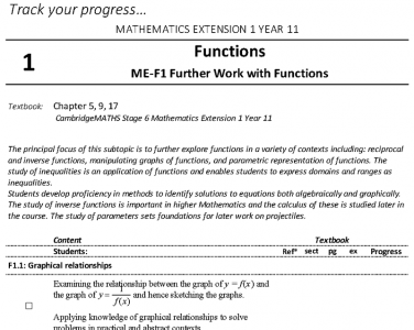 Screenshot of Mathematics Extension 1 - Student Outlines