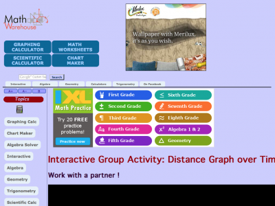 Screenshot of Interactive Group Activity: Distance Graph over Time