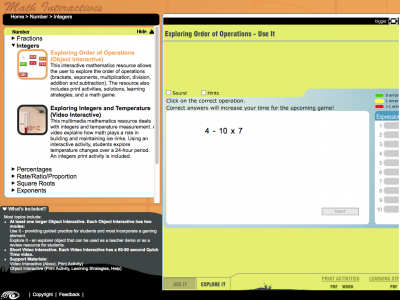 Screenshot of Order of Operations - Use It and Explore It