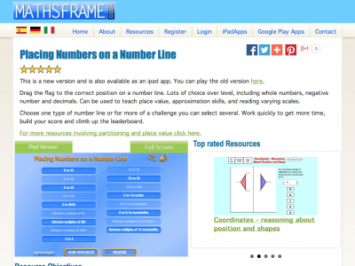 Screenshot of Placing numbers on a number line
