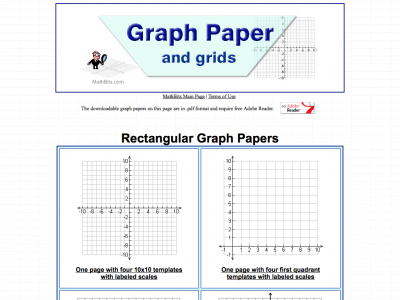 Screenshot of Graph Paper and grids (MathBits.com)