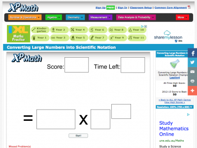 Screenshot of Converting Large Numbers into Scientific Notation