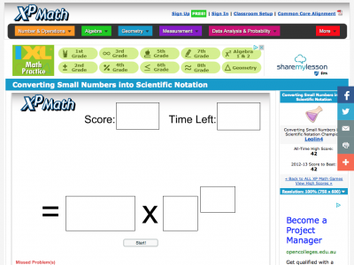 Screenshot of Converting Small Numbers into Scientific Notation