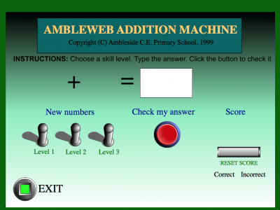 Screenshot of Ambleweb Addition Machine
