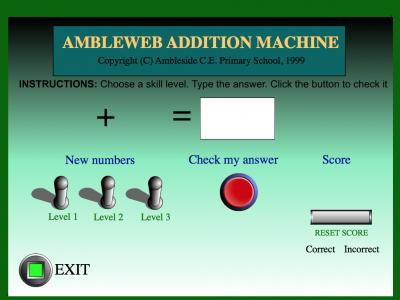 Screenshot of Ambleweb Addition Machine