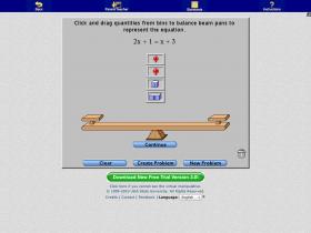 Screenshot of Algebra Balance Scales - Negatives
