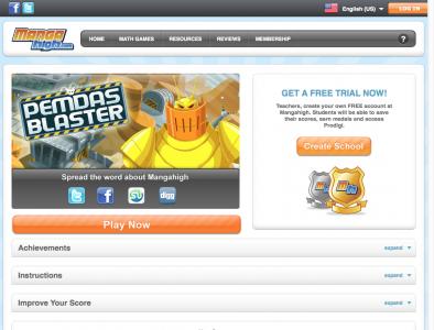 Screenshot of Bidmas Blaster - Manga High