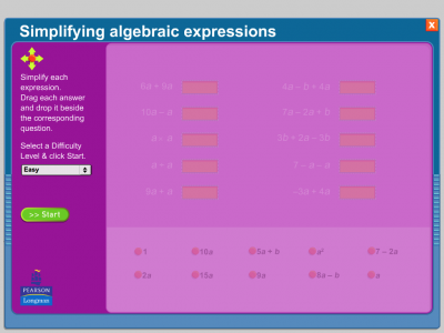 Screenshot of Simplifying Algebraic Expressions
