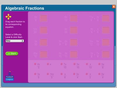 Screenshot of Algebraic Fractions