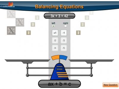 Screenshot of Balancing Equations