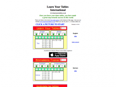 Screenshot of Learn Your Tables