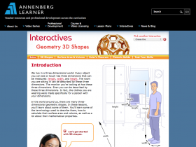 Screenshot of Interactives Geometry 3D Shapes