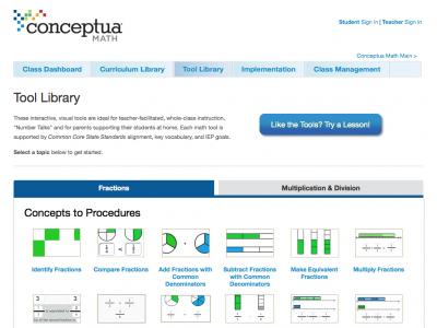 Screenshot of Conceptua Math - Fractions