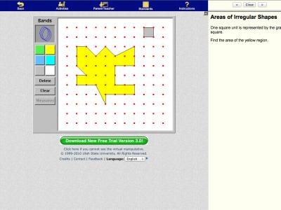 Screenshot of GeoBoard - Area and Perimeter
